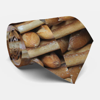 Fresh baguettes at a market neck tie