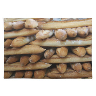 Fresh baguettes at a market placemat