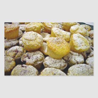 Fresh baked  muffins on a plate rectangular stickers