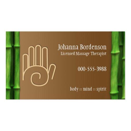 Fresh Bamboo Massage Therapy Horizontal Alternate Business Card Template