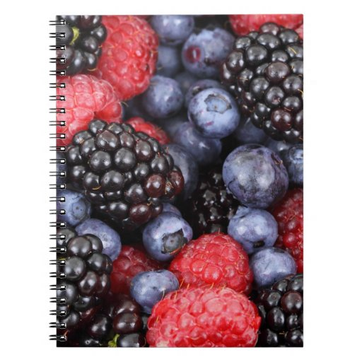 Fresh Berry Fruit Background Spiral Notebooks