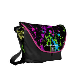 Fresh black with neon splatter colorful custom bag