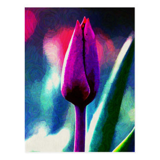 Fresh Blooming Purple Tulip Impressionist Postcard