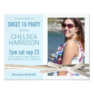 Fresh Blue and White Sweet 16 Photo Birthday Card
