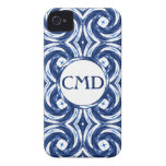 Fresh Blue and White Tie-Dye Style Swirls Pattern iPhone 4 Case-Mate Case