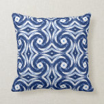 Fresh Blue and White Tie-Dye Style Swirls Pattern Throw Pillow
