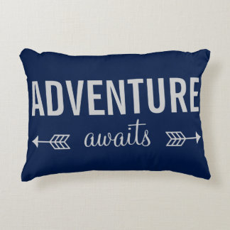 Fresh Blue Typography Adventure Seeker Decorative Pillow