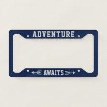 Fresh Blue Typography Adventure Seeker License Plate Frame