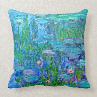 Fresh Blue Water Lily Pond Monet Fine Art Throw Pillow