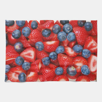 Fresh blueberries and strawberries kitchen towel