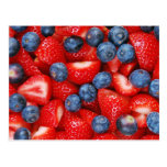 Fresh blueberries and strawberries postcard