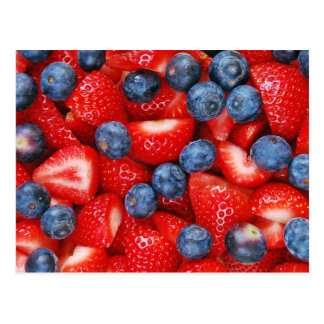 Fresh blueberries and strawberries postcard
