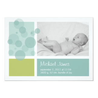 Fresh bubbly birth announcement in blue and green