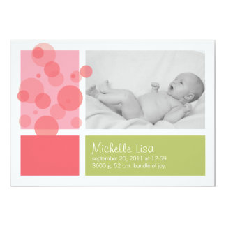 Fresh bubbly birth announcement in pink and green
