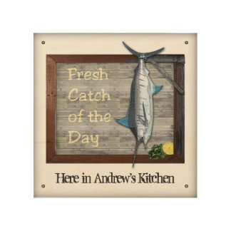 Fresh Catch of the Day Wood Sign with your Name