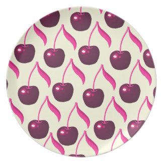 Fresh Cherries and Cream Pattern Melamine Plate