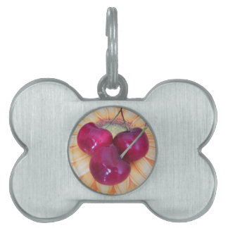 Fresh cherries on sunflower background pet name tag