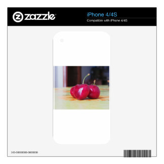 Fresh cherries on the table skins for iPhone 4
