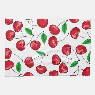 Fresh cherries pattern hand towel
