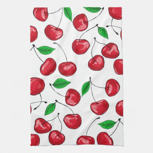 Fresh cherries pattern hand towel
