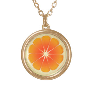 Fresh Citrus Fruit Design, Cute Colorful Gold Plated Necklace