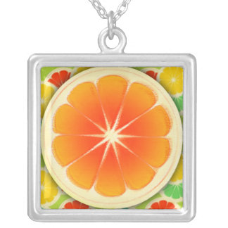 Fresh Citrus Fruit Design, Cute Colorful Square Pendant Necklace