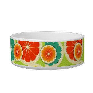 Fresh Citrus Fruit Design, Cute Colorful Cat Water Bowl