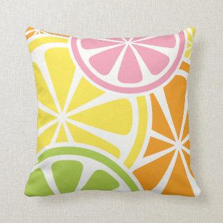 Fresh Citrus Fruit Slices Summer Throw Pillow