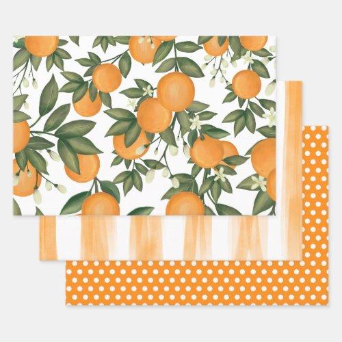 Fresh Citrus Orange Summer Botanical Greenery Wrapping Paper Sheets