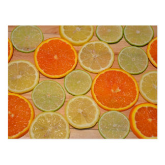 Fresh citrus slices print postcard