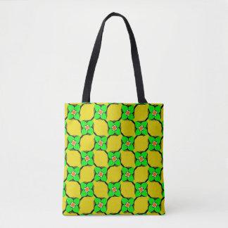 Fresh Citrus Yellow Lemon Garden Pattern Tote Bag