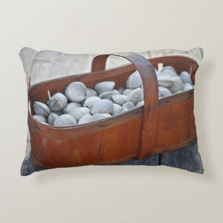 Fresh Clams in Vintage English Wooden Basket Accent Pillow