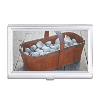 Fresh Clams in Vintage English Wooden Basket Business Card Holder