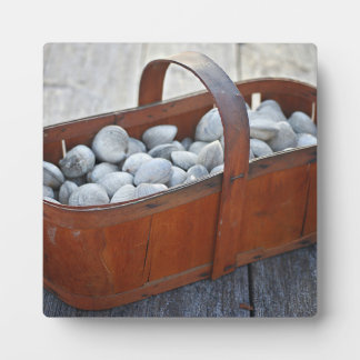 Fresh Clams in Vintage English Wooden Basket Plaque
