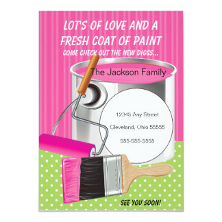 """Fresh Coat Of Paint Moving Announcement 4.5"""" X 6.25"""" Invitation Card"""
