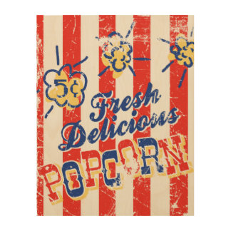 Fresh Delicious Popcorn Retro Wood Sign 11x14