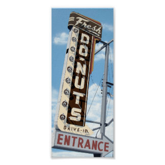 Fresh Donuts Drive-In on Route 66 Retro Poster