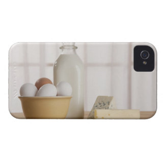 Fresh eggs cheese and milk on counter Case-Mate iPhone 4 case