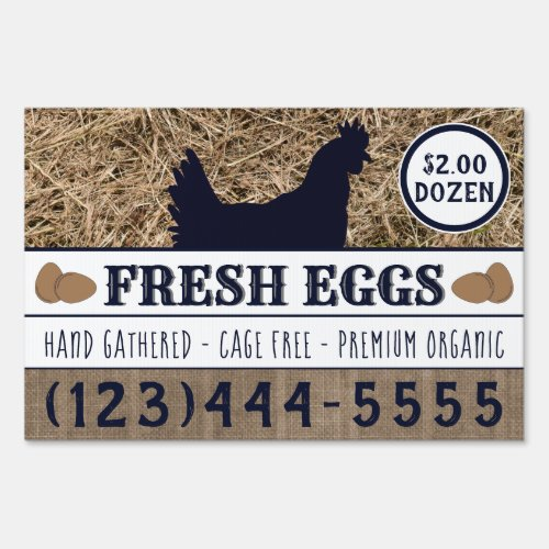 Fresh Eggs For Sale Custom Double Sided Chicken Sign