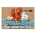 Fresh Eggs for sale. Farm. Organic.  Customizable Lawn Sign<br><div class='desc'>Absolutely adorable and eye-catching FARM FRESH EGGS sign to attract attention. Two-sided sign featuring cute chicken character sitting in a box full of eggs. She is waving HELLO. Text is customizable so that you can change it according to your specific need. The directional arrow can also be changed or removed....</div>
