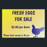 "Fresh Eggs for Sale Farm Yard Sign Customizable!<br><div class=""desc"">Fresh Eggs for Sale Yard Sign is fully customizable!  Change the price,  add or delete text.  Add a picture of your farm&#39;s logo!  It up to your imagination!</div>"