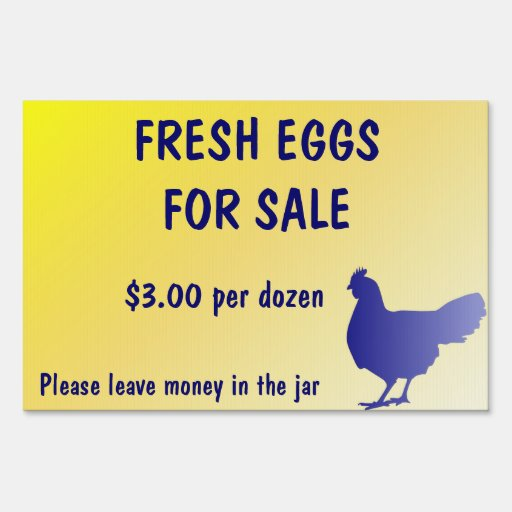Fresh Eggs for Sale Farm Yard Sign Customizable! Lawn Sign