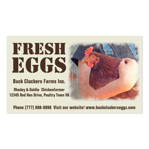 Fresh  Eggs - Red hen Layer Chicken Business Card Templates