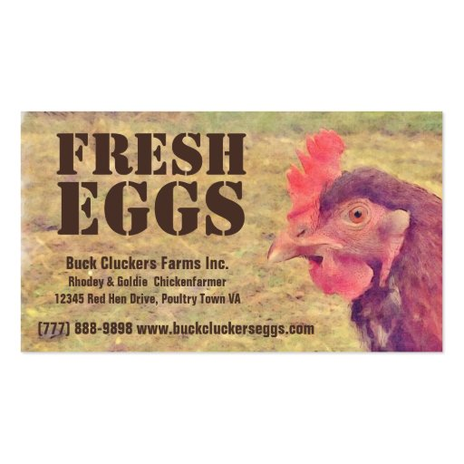 Fresh  Eggs - Red hen Layer Chicken Business Card Template