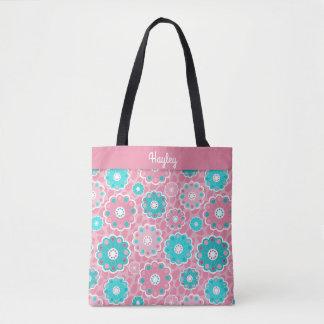 Fresh fabulous pink aqua floral monogram tote bag