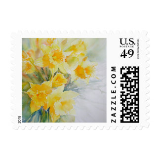 Fresh Faced Daffodils art postage stamps