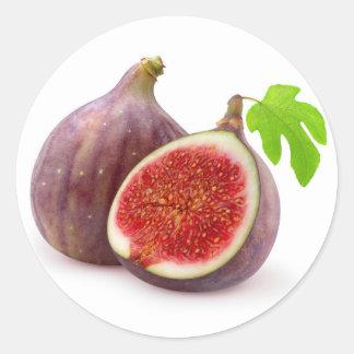 Fresh figs with leaf classic round sticker