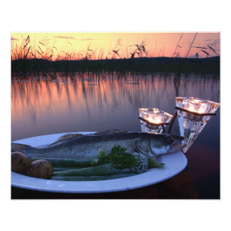 Fresh fish catch on a plate with vegetables photo print