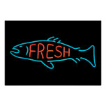 Fresh Fish Neon Sign Poster