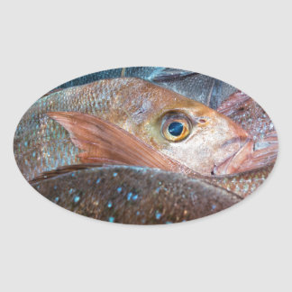 Fresh fish on a market oval sticker